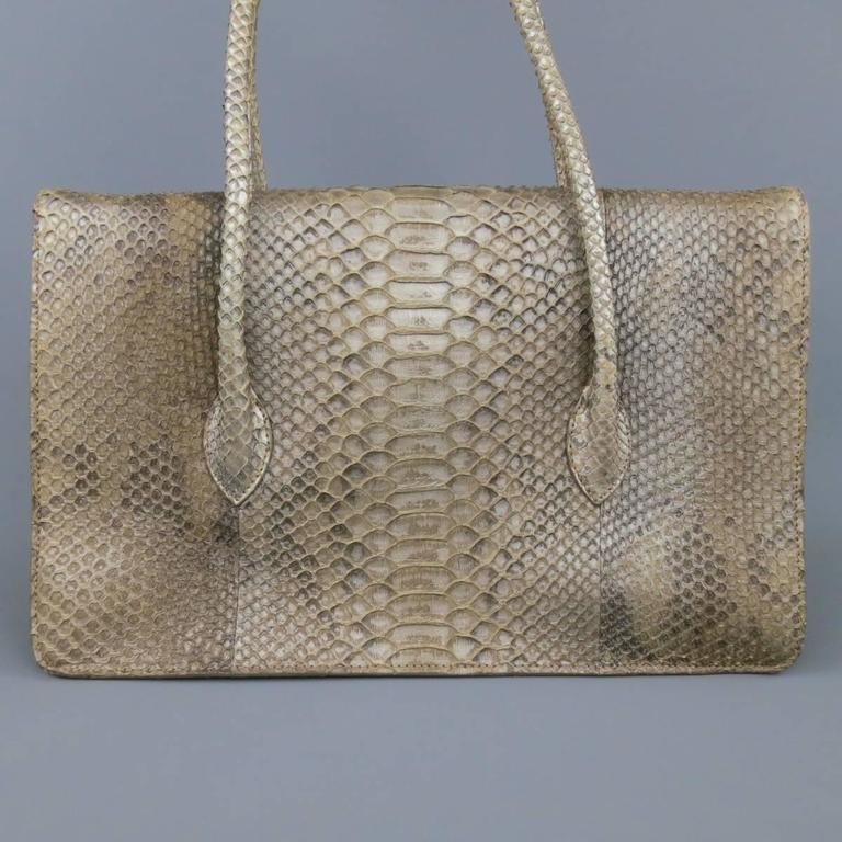 ALAIA Beige Snakeskin Top Handles Shoulder Handbag 6