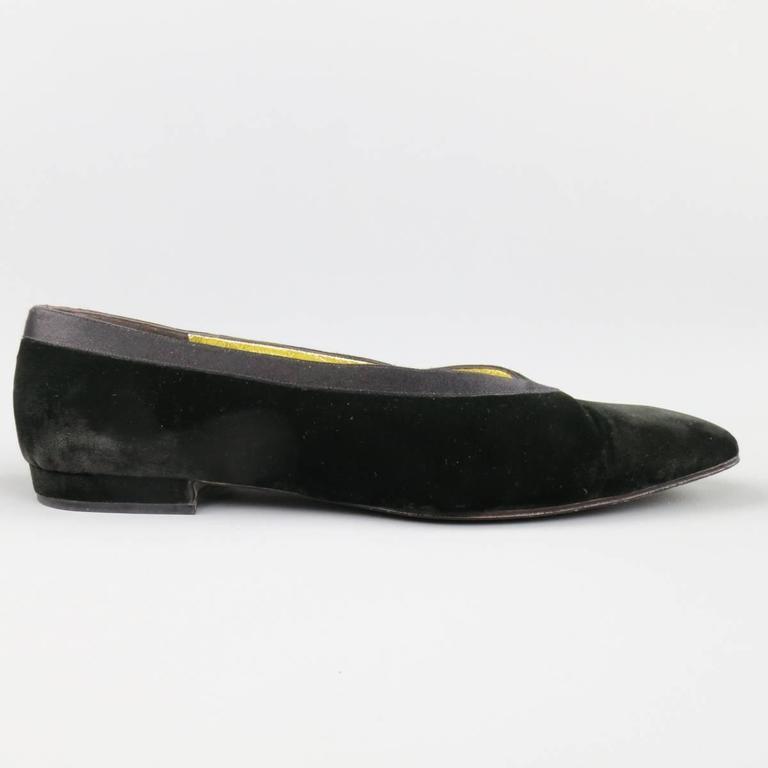 Vintage CHANEL Size 9.5 Black Velvet Tuxedo Flats 2