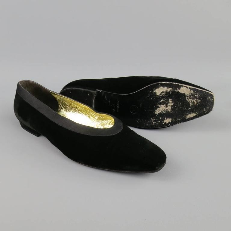 Vintage CHANEL Size 9.5 Black Velvet Tuxedo Flats 5