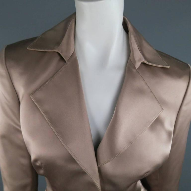 YVES SAINT LAURENT Size 10 Muted Mauve Beige Silk Satin Top Stitch Skirt Suit In New Condition For Sale In San Francisco, CA