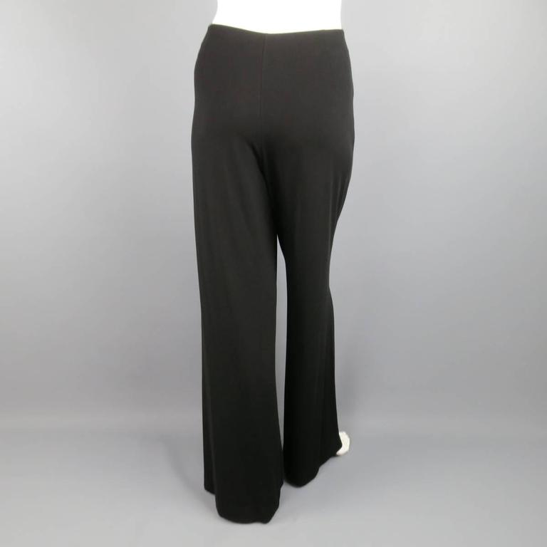 FENDI Size 6 Black Rayon Blend Pleated Front Wide Leg Dress Pants For Sale 1