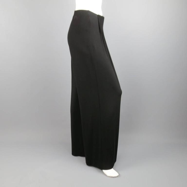 FENDI Size 6 Black Rayon Blend Pleated Front Wide Leg Dress Pants 4