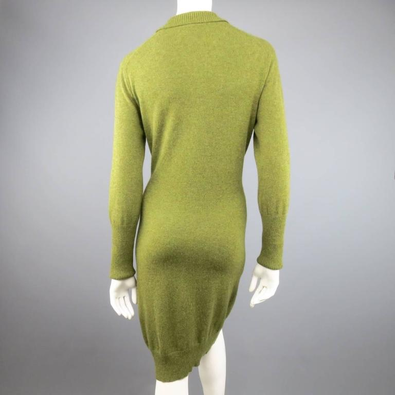 Vintage HERMES Size 10 Olive Cashmere Long Sleeve Collar Dress 6