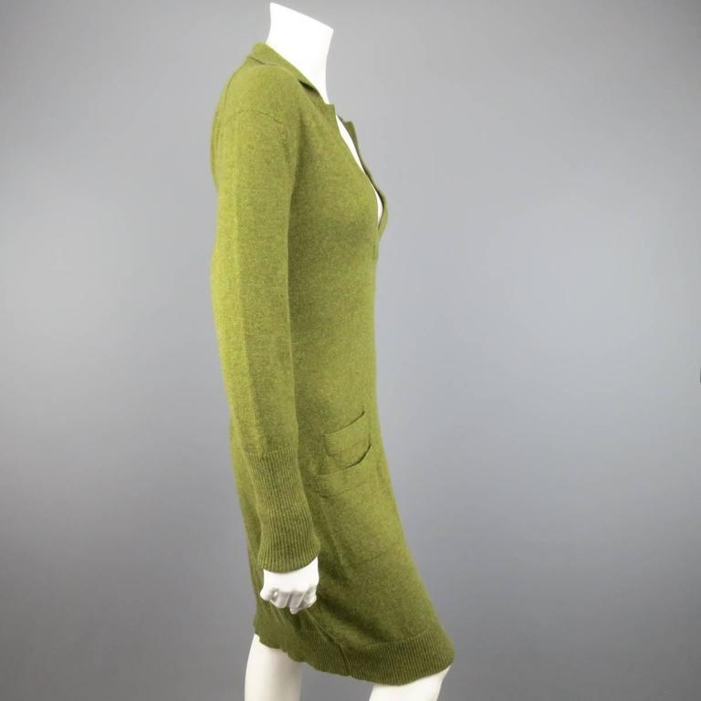 Vintage HERMES Size 10 Olive Cashmere Long Sleeve Collar Dress 7
