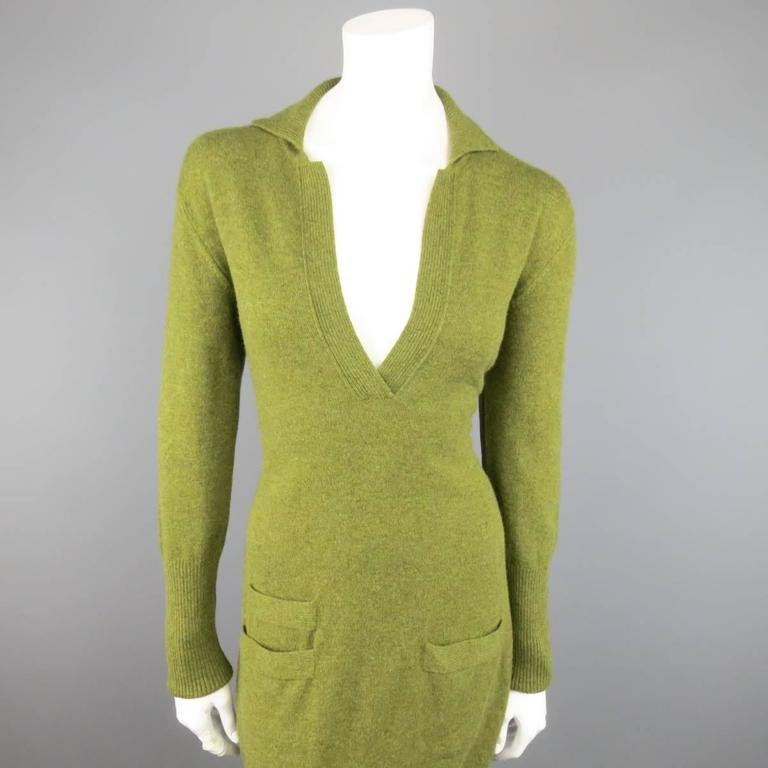 Vintage HERMES Size 10 Olive Cashmere Long Sleeve Collar Dress 2