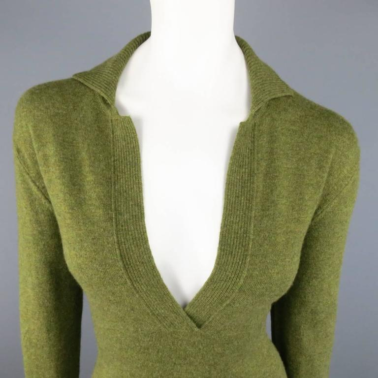 Vintage HERMES Size 10 Olive Cashmere Long Sleeve Collar Dress 3
