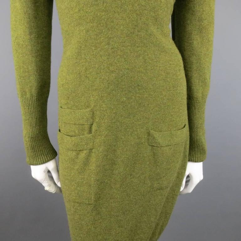 Vintage HERMES Size 10 Olive Cashmere Long Sleeve Collar Dress 5