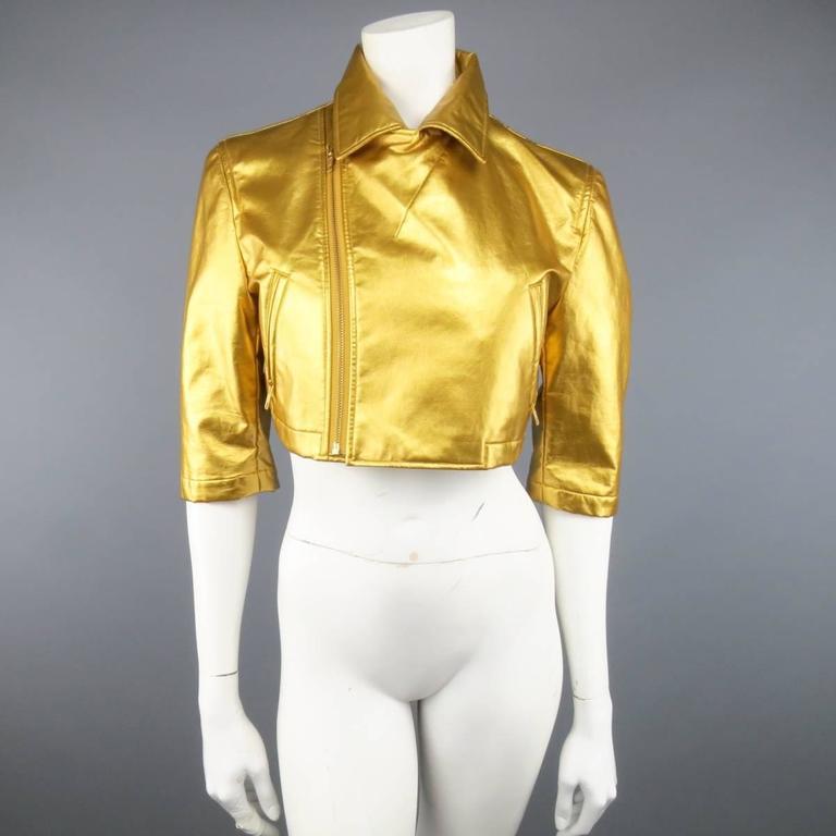 COMME des GARCONS Size M Metallic Gold Cropped Biker Jacket 2007 3