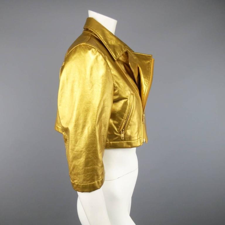 COMME des GARCONS Size M Metallic Gold Cropped Biker Jacket 2007 5