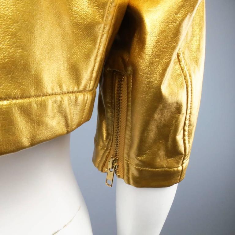 COMME des GARCONS Size M Metallic Gold Cropped Biker Jacket 2007 7