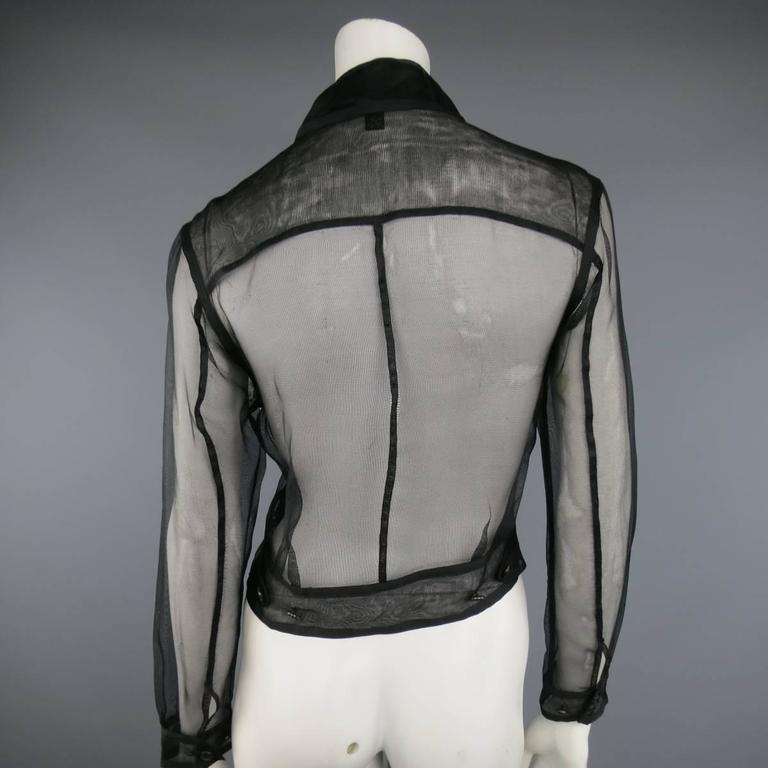 Women's RALPH LAUREN Black Label Size 2 Black Sheer Silk Tulle Cropped Cargo Jacket For Sale