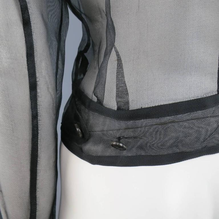RALPH LAUREN Black Label Size 2 Black Sheer Silk Tulle Cropped Cargo Jacket For Sale 3
