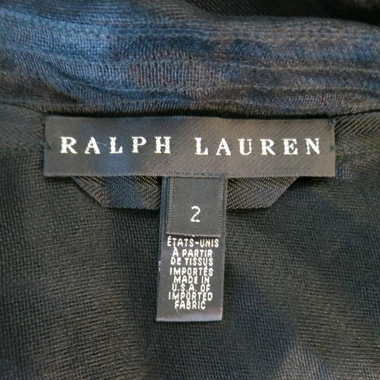 RALPH LAUREN Black Label Size 2 Black Sheer Silk Tulle Cropped Cargo Jacket For Sale 6
