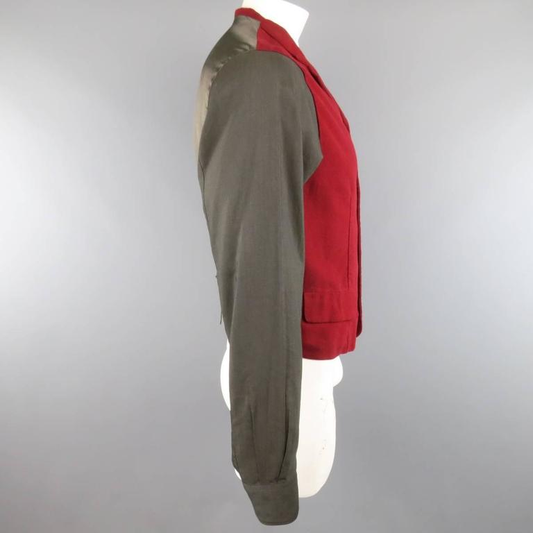 COMME des GARCONS Size L Burgundy & Gray Two Toned Vest Front Long Sleeve Shirt 4