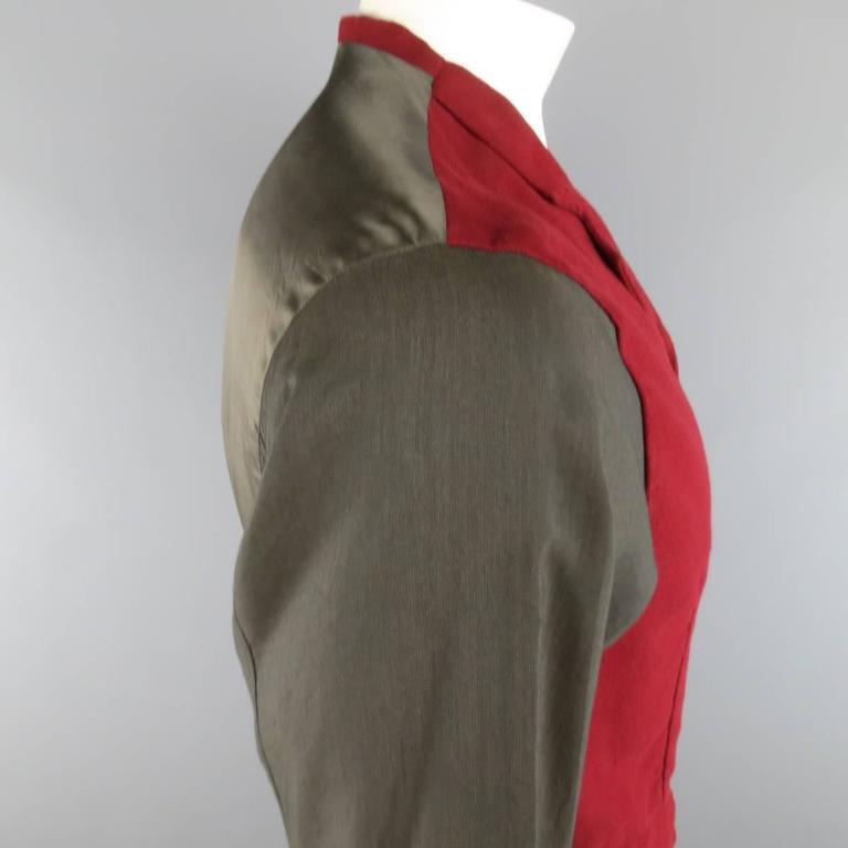 COMME des GARCONS Size L Burgundy & Gray Two Toned Vest Front Long Sleeve Shirt 5