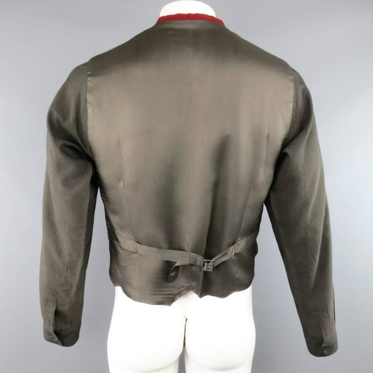 COMME des GARCONS Size L Burgundy & Gray Two Toned Vest Front Long Sleeve Shirt 6
