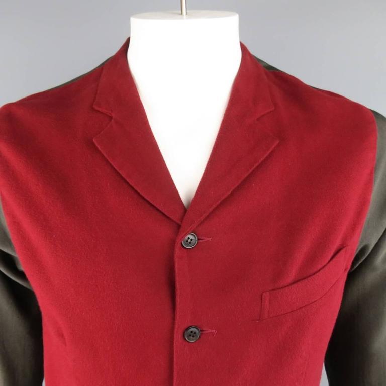 COMME des GARCONS Size L Burgundy & Gray Two Toned Vest Front Long Sleeve Shirt 2