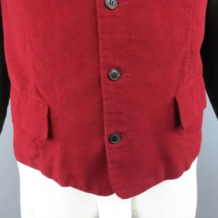 COMME des GARCONS Size L Burgundy & Gray Two Toned Vest Front Long Sleeve Shirt 3