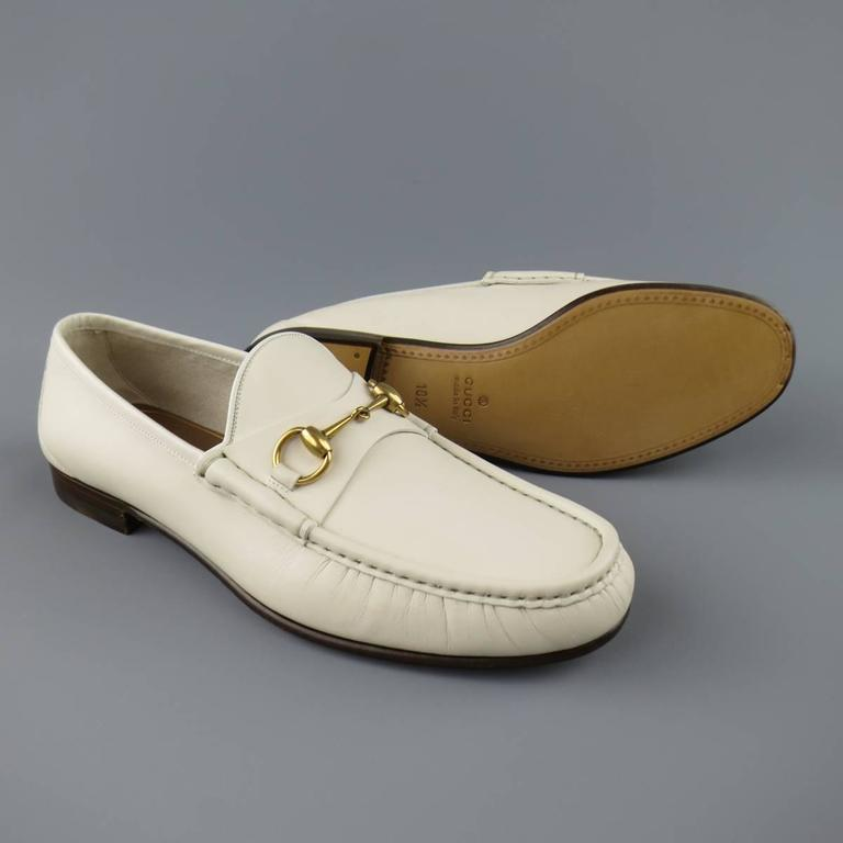 Beige New Men's GUCCI Size 10.5 Off White Leather Gold Horsebit Loafers For Sale