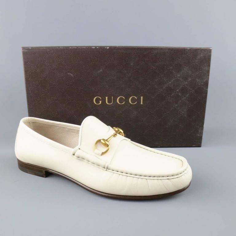 New Men's GUCCI Size 10.5 Off White Leather Gold Horsebit Loafers In New Never_worn Condition For Sale In San Francisco, CA