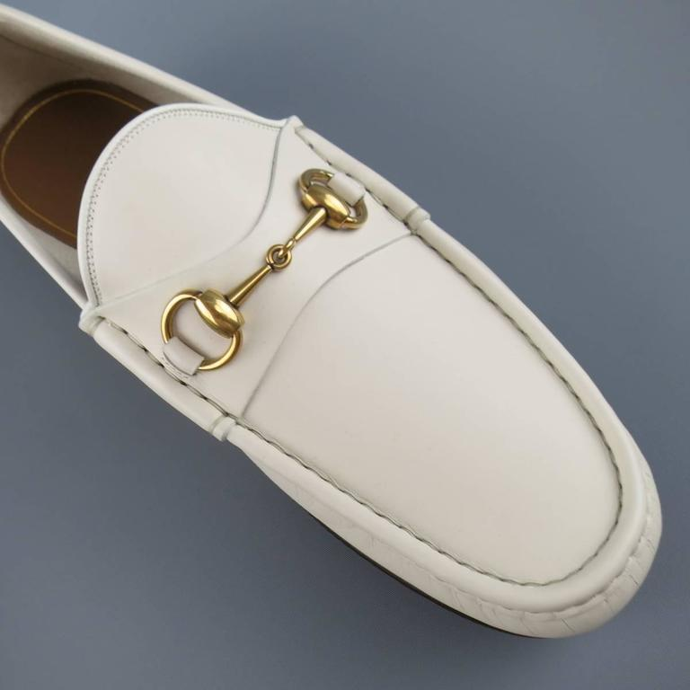 New Men's GUCCI Size 10.5 Off White Leather Gold Horsebit Loafers For Sale 1