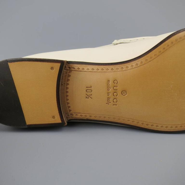 New Men's GUCCI Size 10.5 Off White Leather Gold Horsebit Loafers For Sale 3
