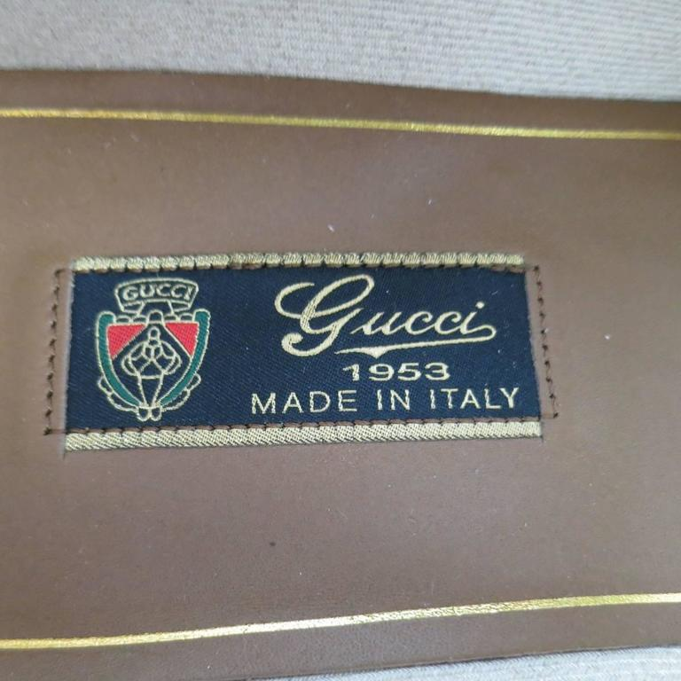 New Men's GUCCI Size 10.5 Off White Leather Gold Horsebit Loafers For Sale 4
