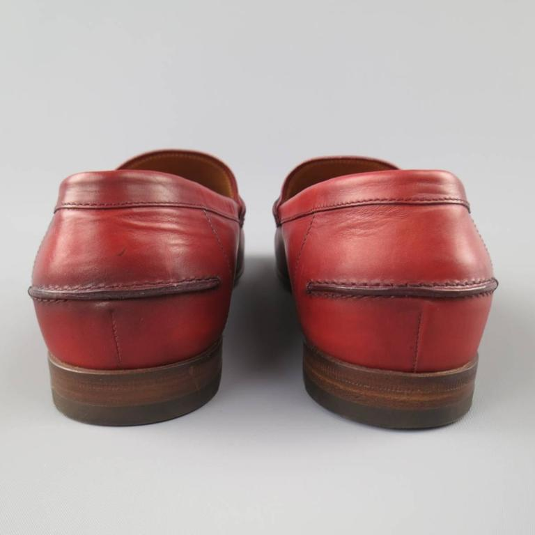Men's GUCCI Size 10 Brick Red Ombre Leather Silver Horsebit Loafers For Sale 3