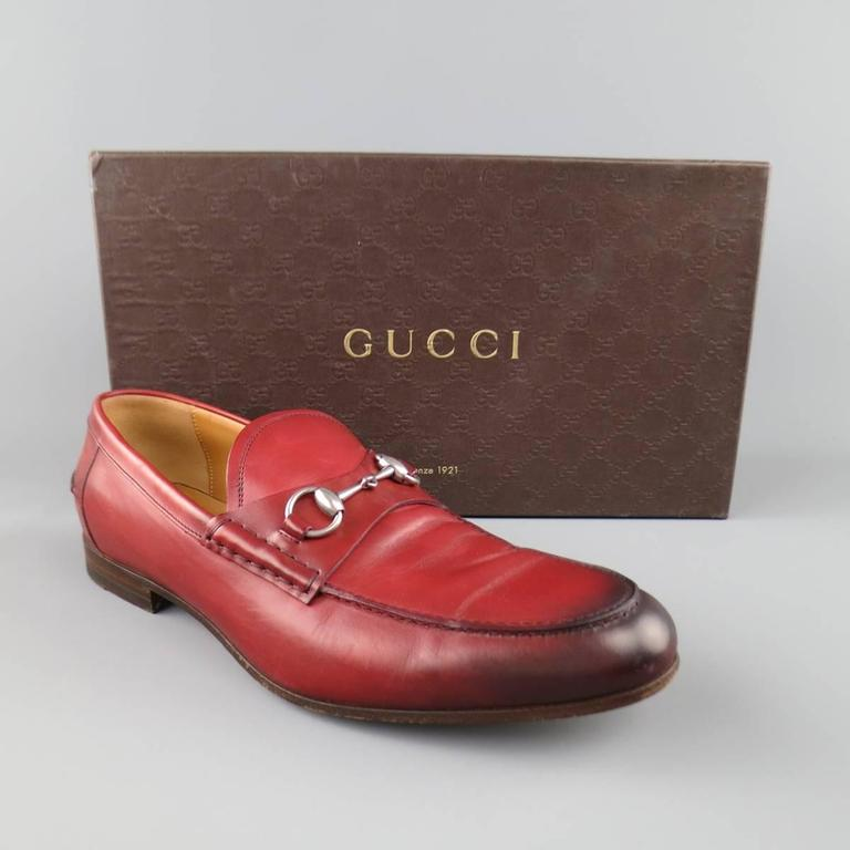 Men's GUCCI Size 10 Brick Red Ombre Leather Silver Horsebit Loafers For Sale 4