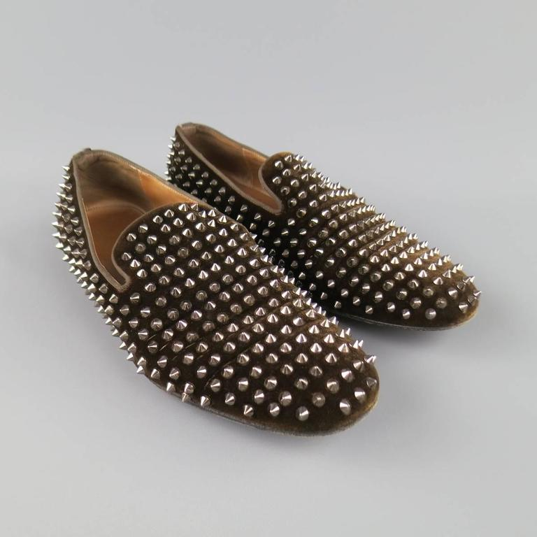 Men's CHRISTIAN LOUBOUTIN Size 10 Brown Studded Velvet Rollerboy SpikesLoafers 2