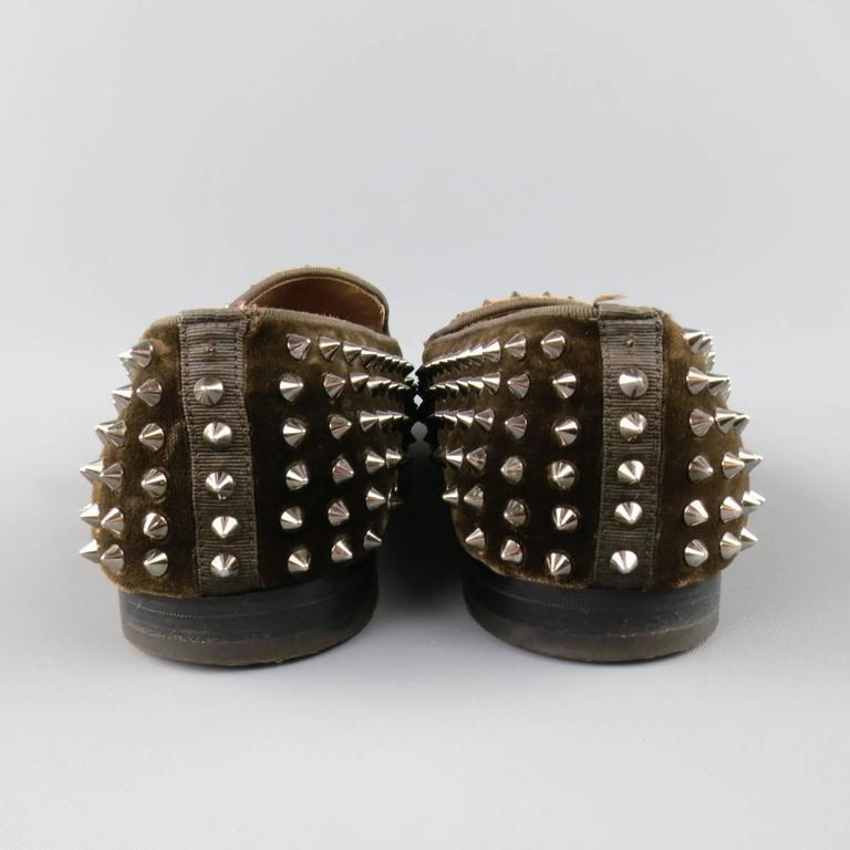 Men's CHRISTIAN LOUBOUTIN Size 10 Brown Studded Velvet Rollerboy SpikesLoafers 5