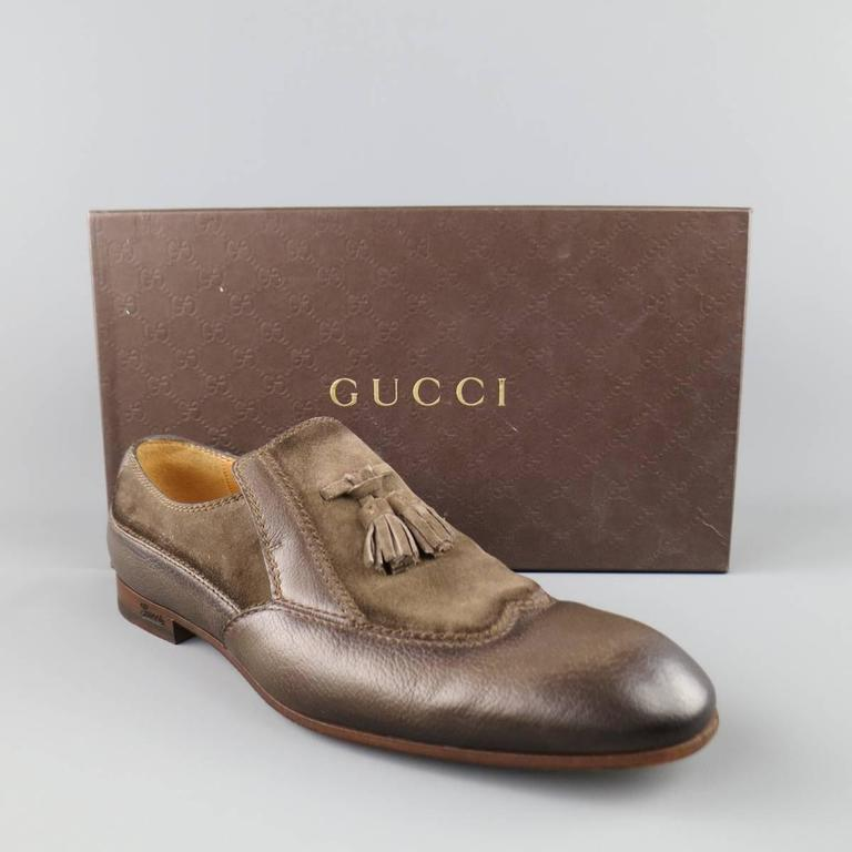 Men's GUCCI Size 10.5 Distressed Taupe & Suede Leather Wingtip Tassel Loafers 8