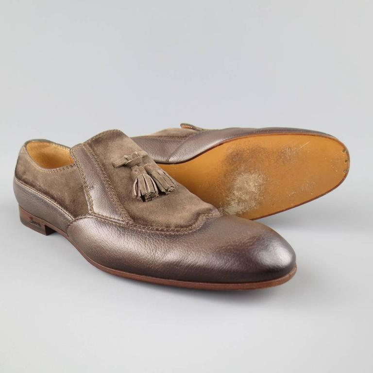 Men's GUCCI Size 10.5 Distressed Taupe & Suede Leather Wingtip Tassel Loafers 6
