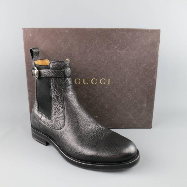 GUCCI Size 10.5 Black Pebbled Leather Royer Ankle Buckle Boots 8