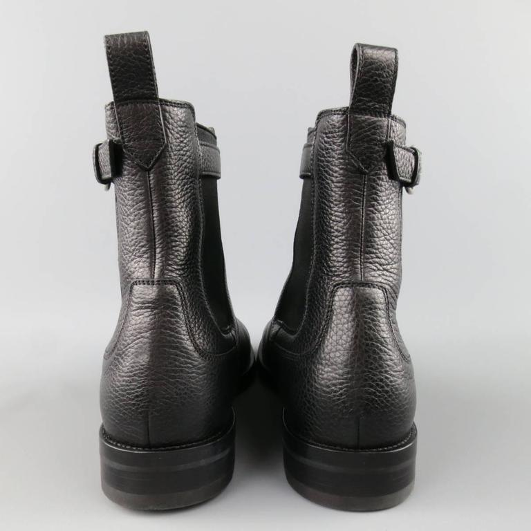GUCCI Size 10.5 Black Pebbled Leather Royer Ankle Buckle Boots 5