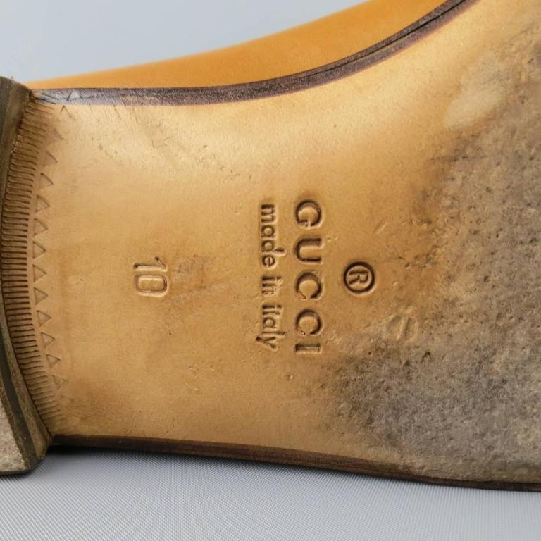 GUCCI Size 11 Tan Obre Tip Leather Silver Horsebit Loafers For Sale 5