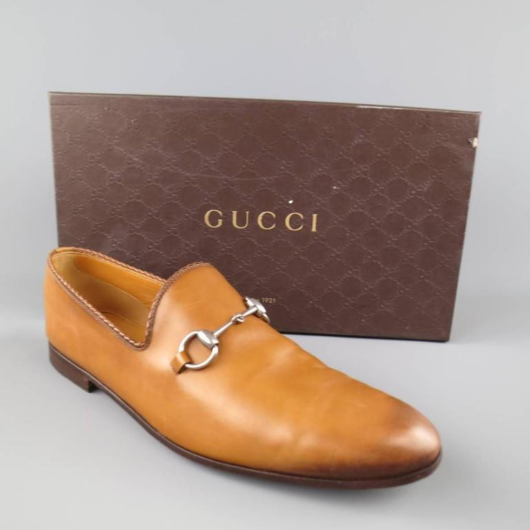 GUCCI Size 11 Tan Obre Tip Leather Silver Horsebit Loafers For Sale 1