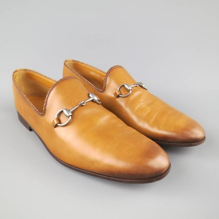 Brown GUCCI Size 11 Tan Obre Tip Leather Silver Horsebit Loafers For Sale