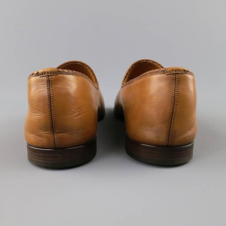 ea04a4a74 GUCCI Size 11 Tan Obre Tip Leather Silver Horsebit Loafers For Sale 2