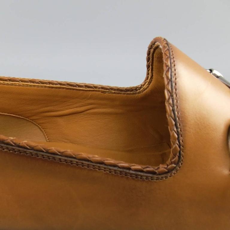 375f501e2 Men's GUCCI Size 11 Tan Obre Tip Leather Silver Horsebit Loafers For Sale