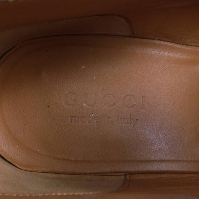 d8cde0866 GUCCI Size 11 Tan Obre Tip Leather Silver Horsebit Loafers For Sale 3