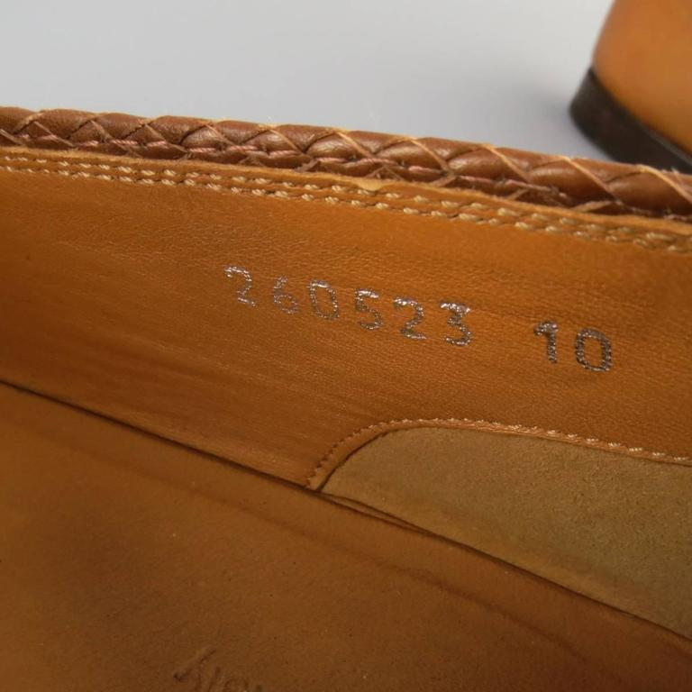 GUCCI Size 11 Tan Obre Tip Leather Silver Horsebit Loafers For Sale 4