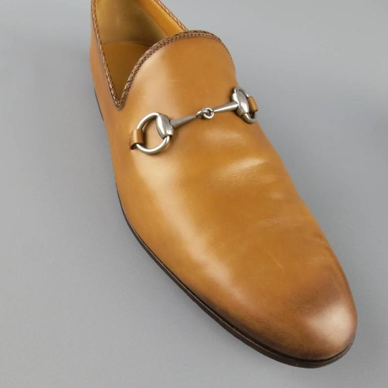 GUCCI Size 11 Tan Obre Tip Leather Silver Horsebit Loafers In Good Condition For Sale In San Francisco, CA
