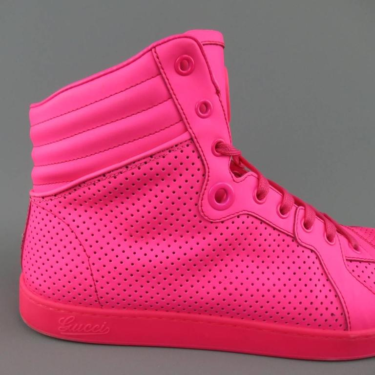 Men's GUCCI Size 11 Neon Pink Perforated Leather High Top ...