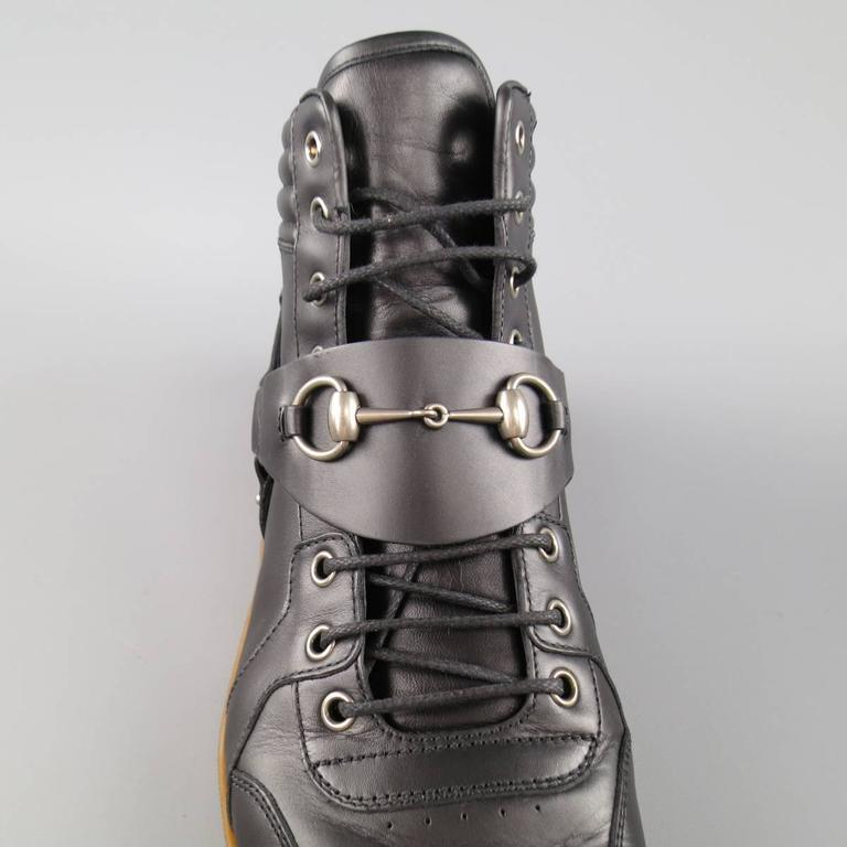 Men's GUCCI Size 11 Black Leather Silver Horsebit Harness High top Sneakers 6