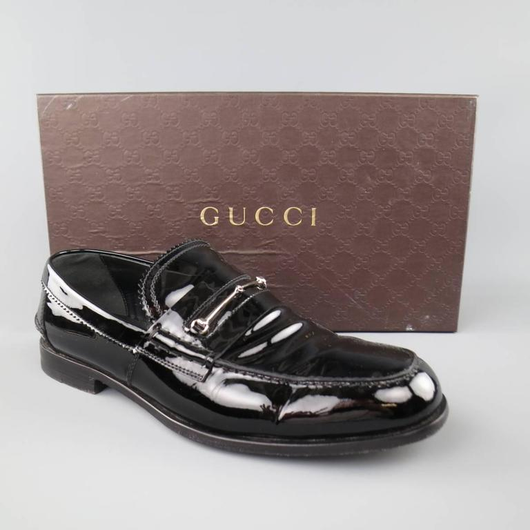 d3c735b2d Men's GUCCI Loafers - Size 10.5 Black Patent Leather Horsebit Dress Shoes  For Sale 4