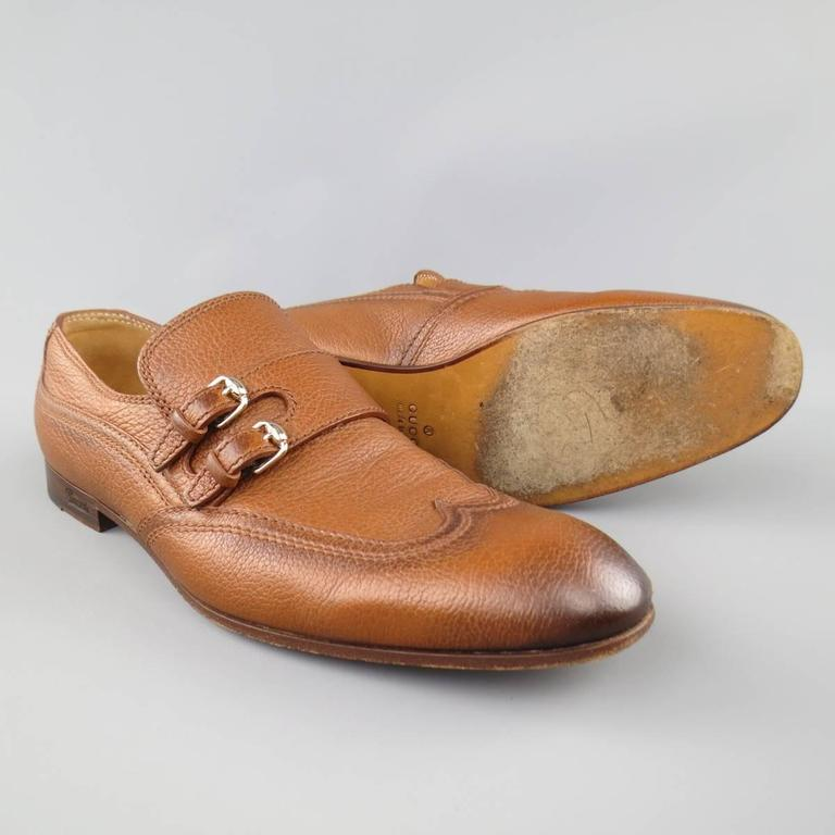 Men's GUCCI Size 10.5 Tan Distressed Pebbled Leather Double Monk Strap Loafers In Good Condition For Sale In San Francisco, CA