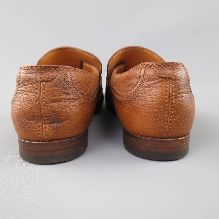 Men's GUCCI Size 10.5 Tan Distressed Pebbled Leather Double Monk Strap Loafers For Sale 4