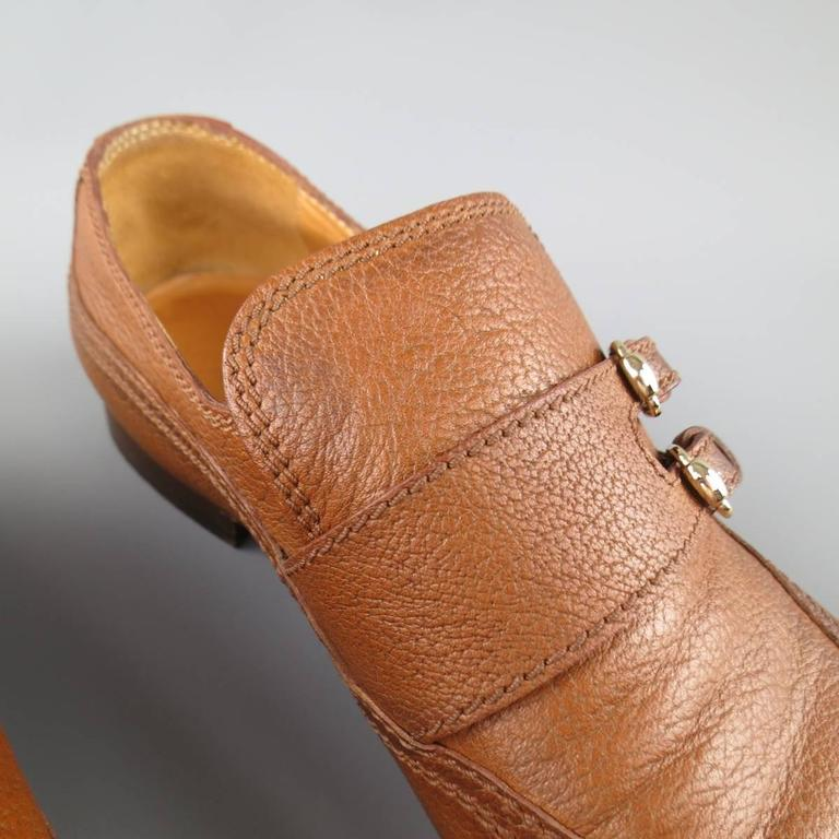 Men's GUCCI Size 10.5 Tan Distressed Pebbled Leather Double Monk Strap Loafers For Sale 2