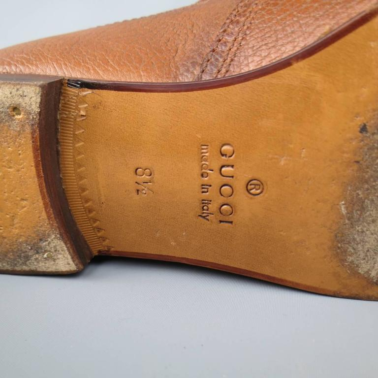 Men's GUCCI Size 10.5 Tan Distressed Pebbled Leather Double Monk Strap Loafers For Sale 5